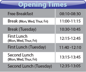 Canteen opening times